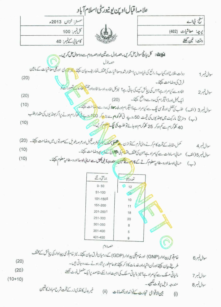 AIOU BA Code 402 Past Papers Autumn 2013