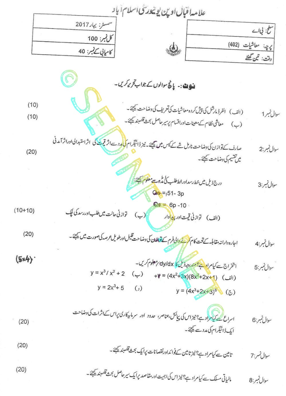 AIOU BA Code 402 Past Papers Spring 2017