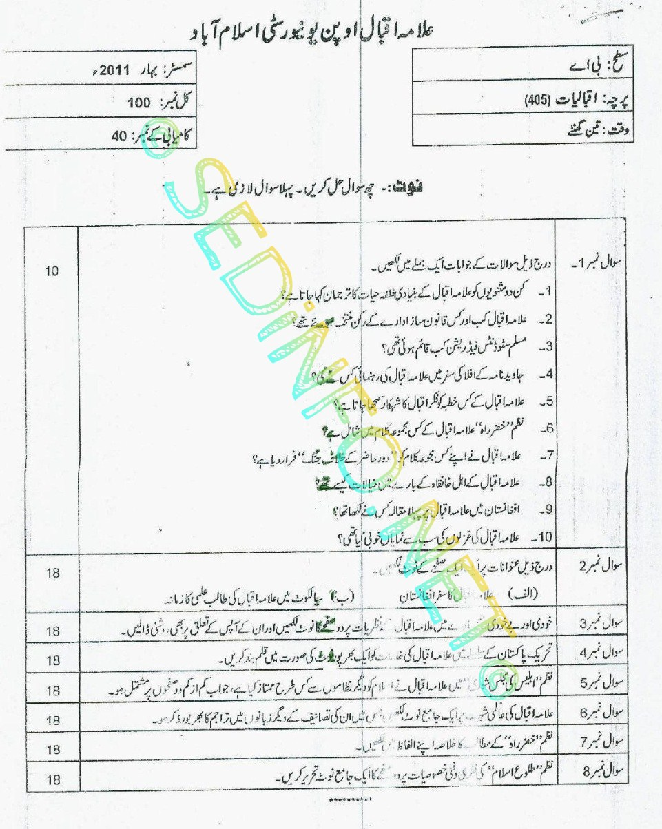 AIOU BA Code 405 Past Papers Spring 2011
