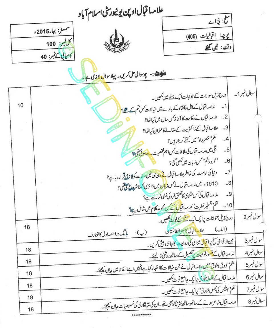 BA Code 405 AIOU Past Papers Spring 2015