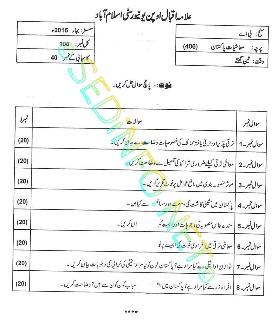 BA Code 406 AIOU Past Papers Spring 2015