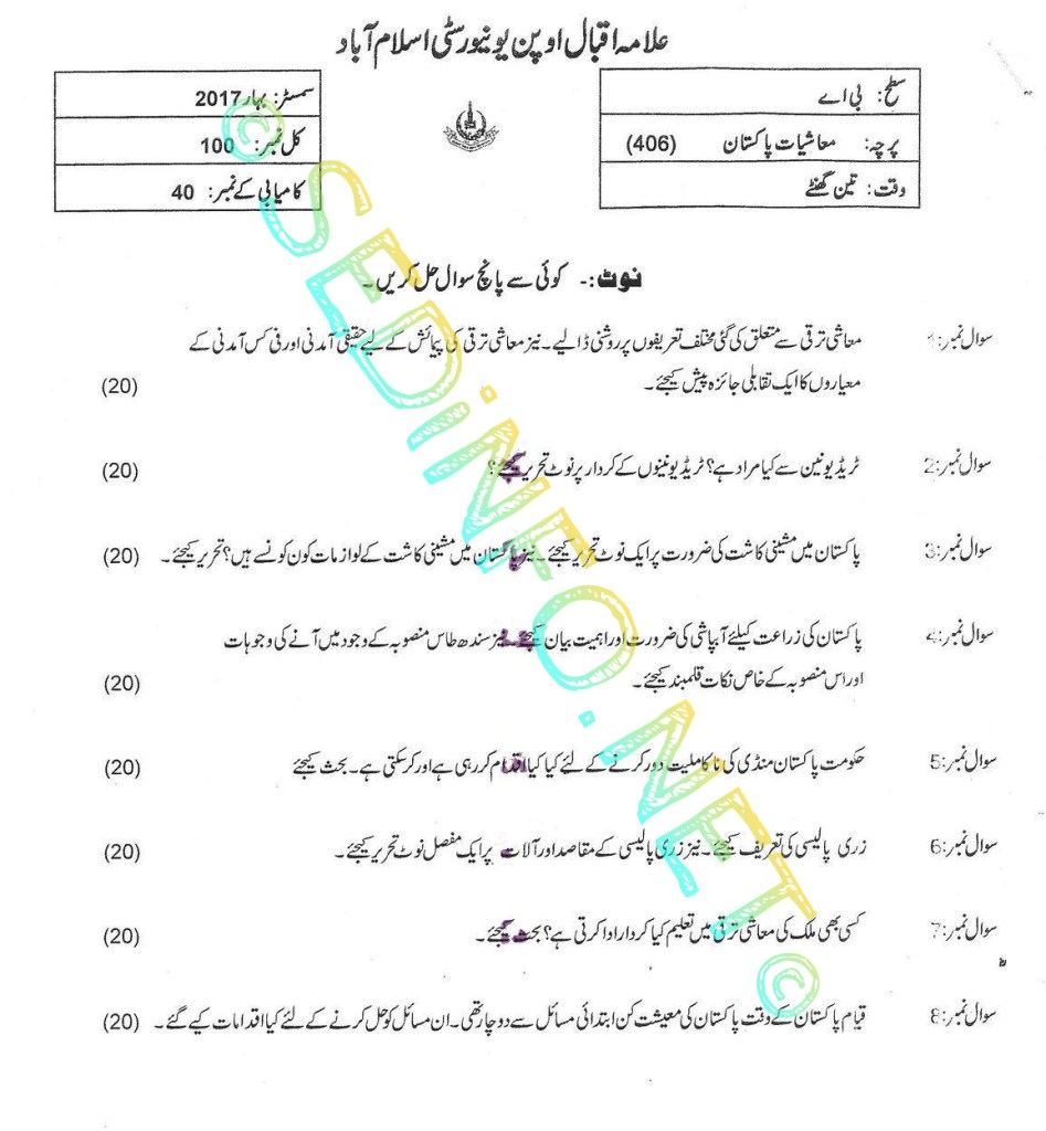 BA Code 406 AIOU Past Papers Spring 2017