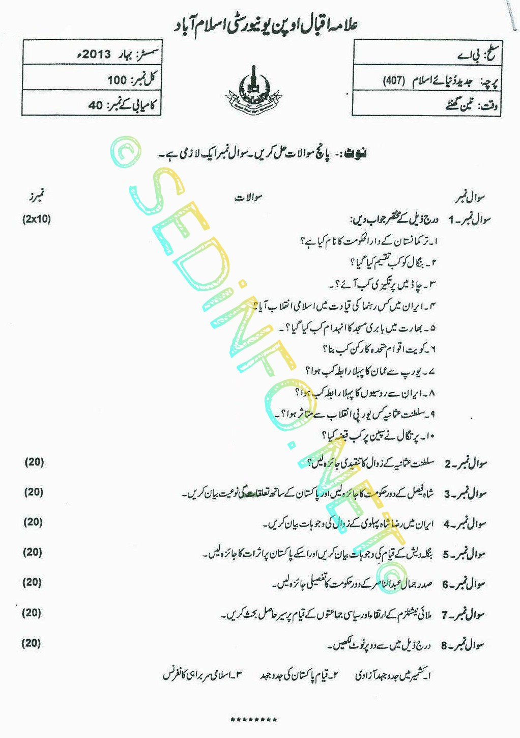 AIOU BA Code 407 Past Papers Spring 2013