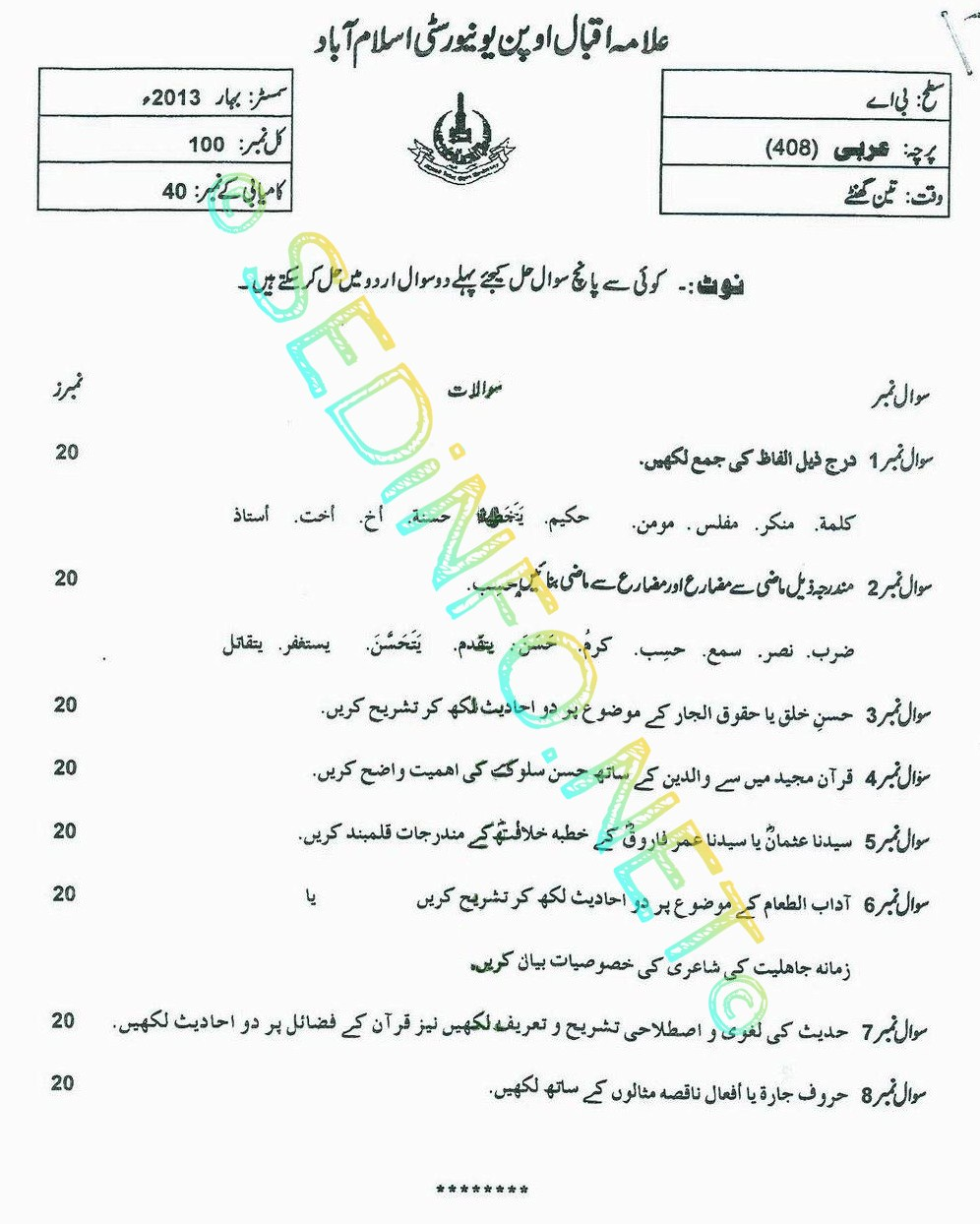 AIOU BA Past Papers Code 408 Spring 2013