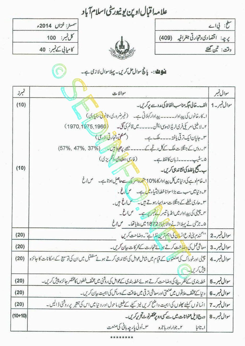 AIOU Past Papers BA Code 409 Autumn 2014