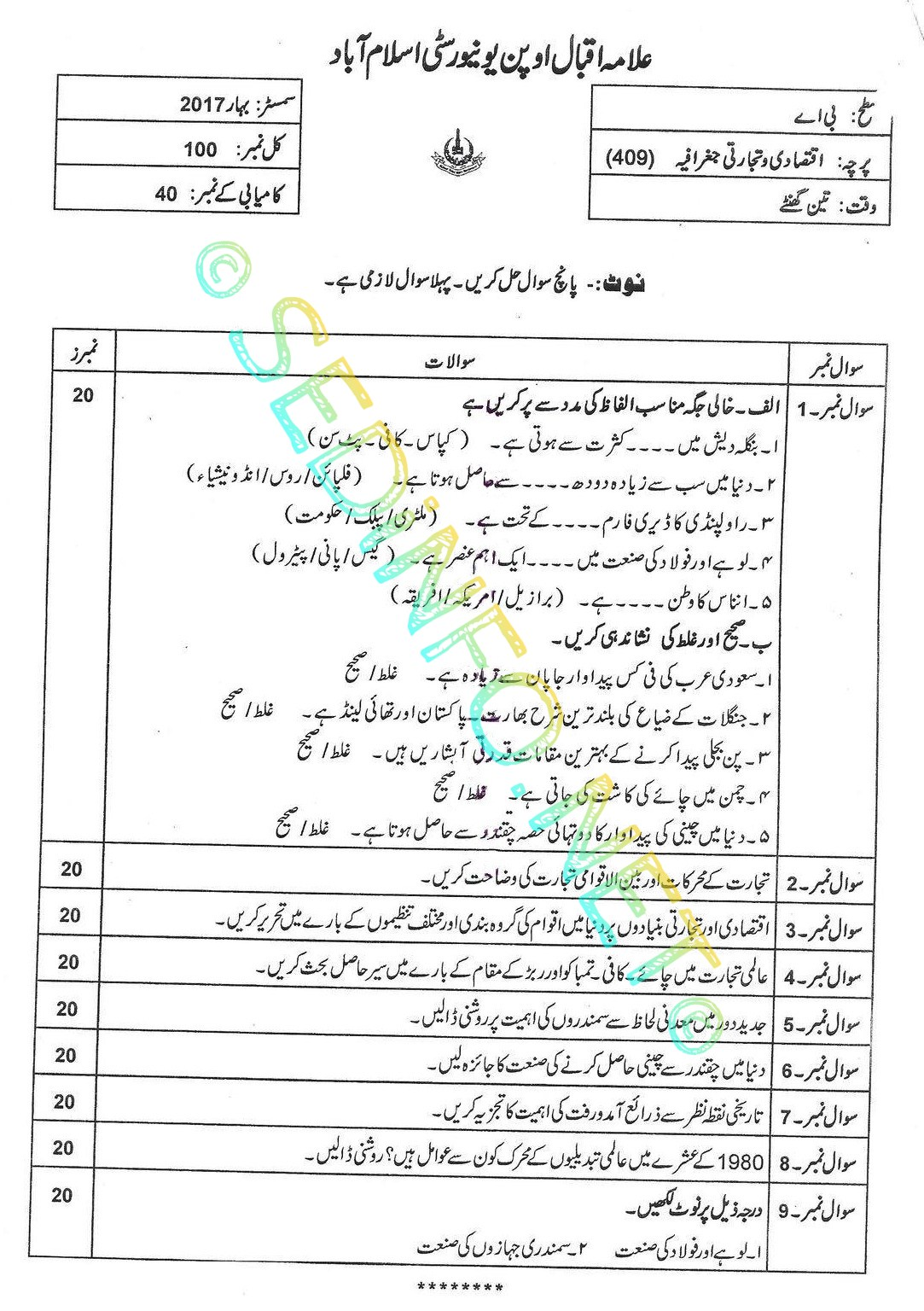 AIOU BA Code 409 Past Papers Spring 2017