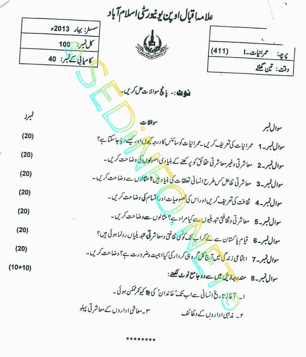 BA AIOU Code 411 Past Papers Spring 2013