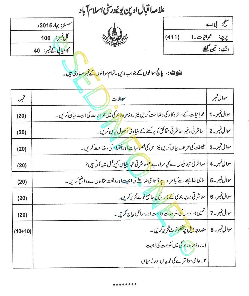 BA AIOU Code 411 Past Papers Spring 2015