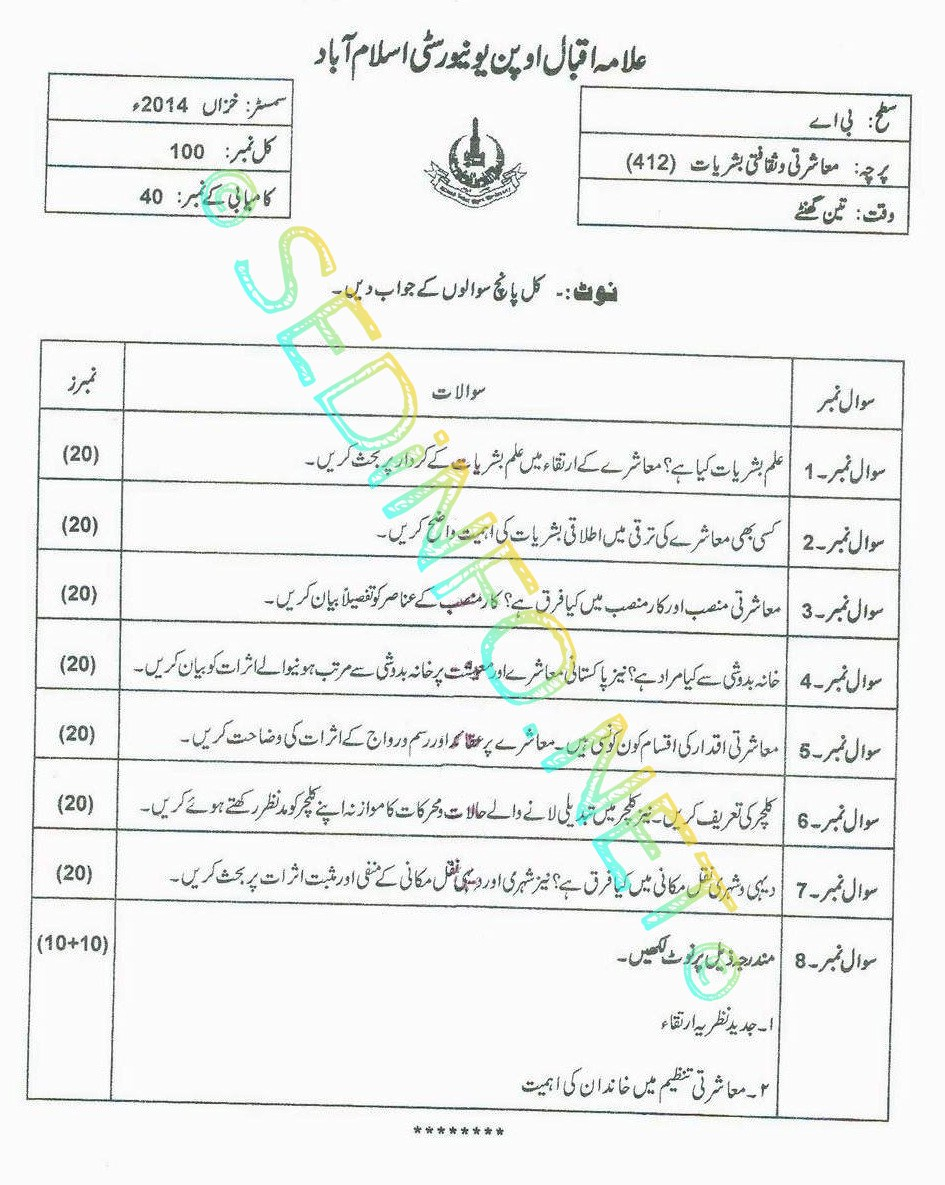 AIOU BA Code 412 Past Papers Autumn 2014