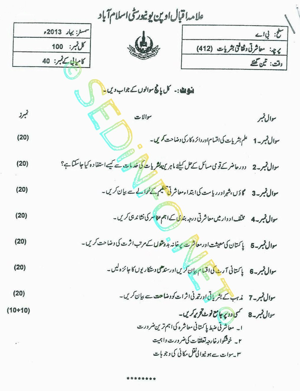 AIOU BA Code 412 Past Papers Spring 2013