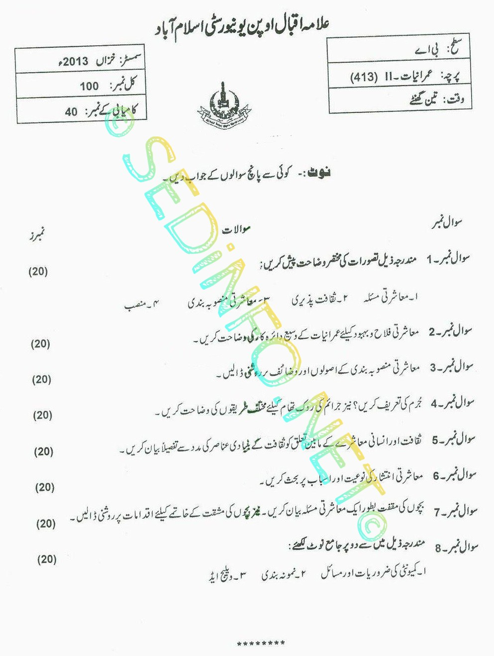 AIOU BA Code 413 Past Papers Autumn 2013