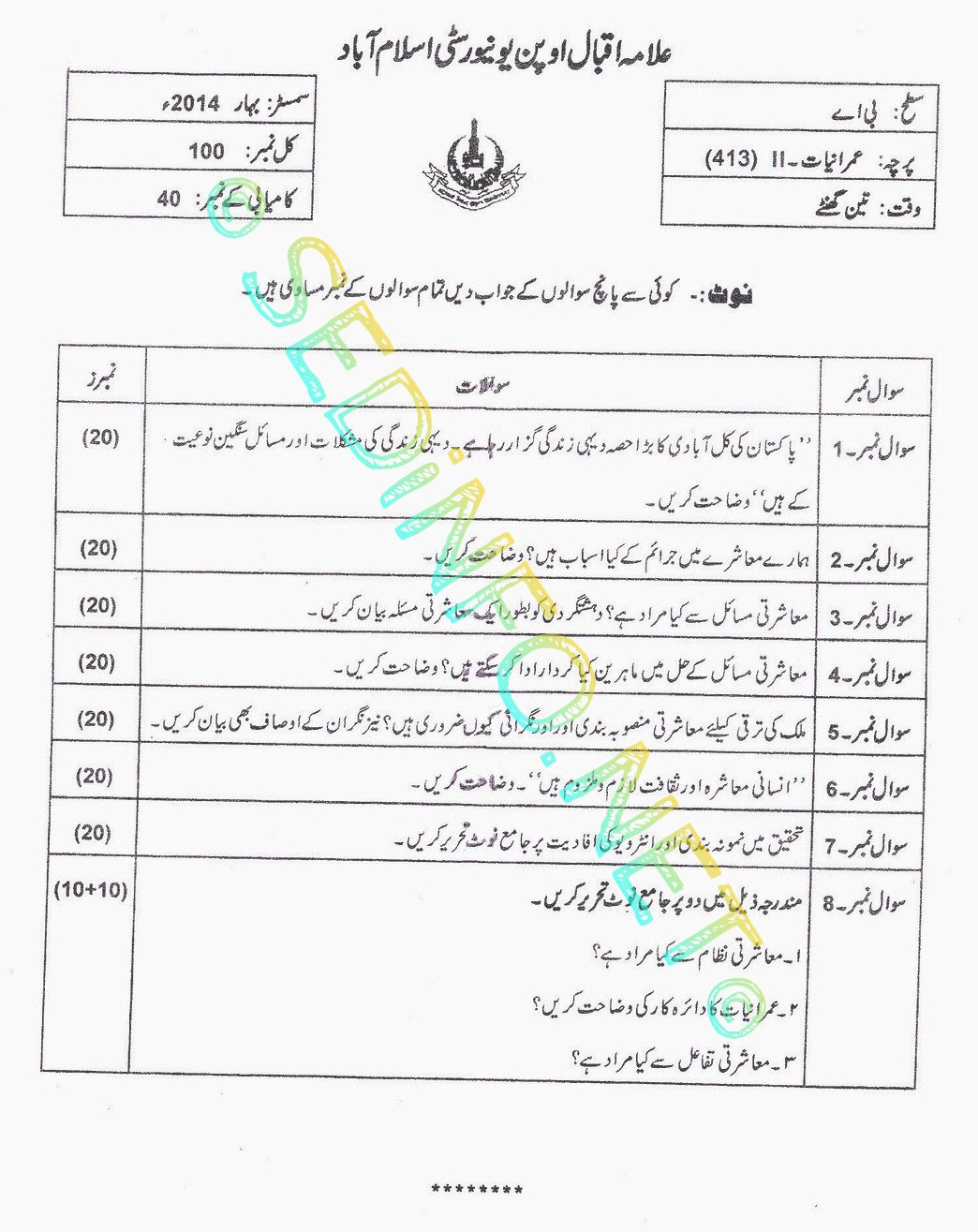 AIOU BA Code 413 Past Papers Spring 2014