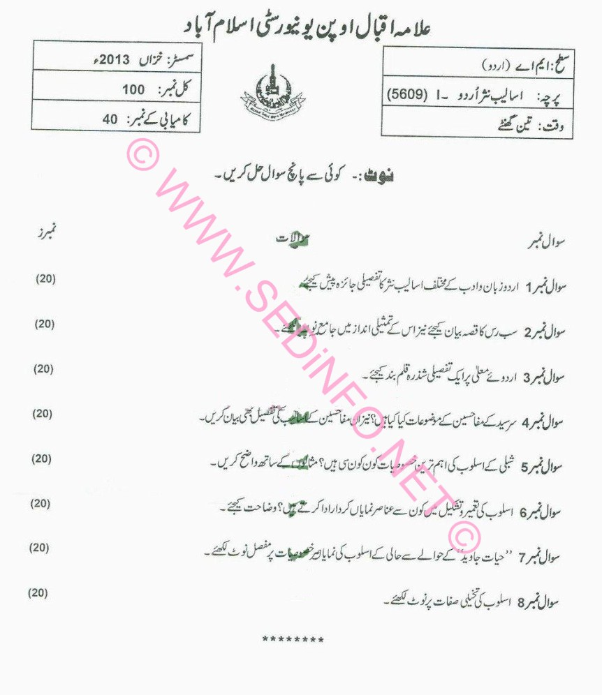 AIOU MA Urdu Code 5609 Past Papers A2013