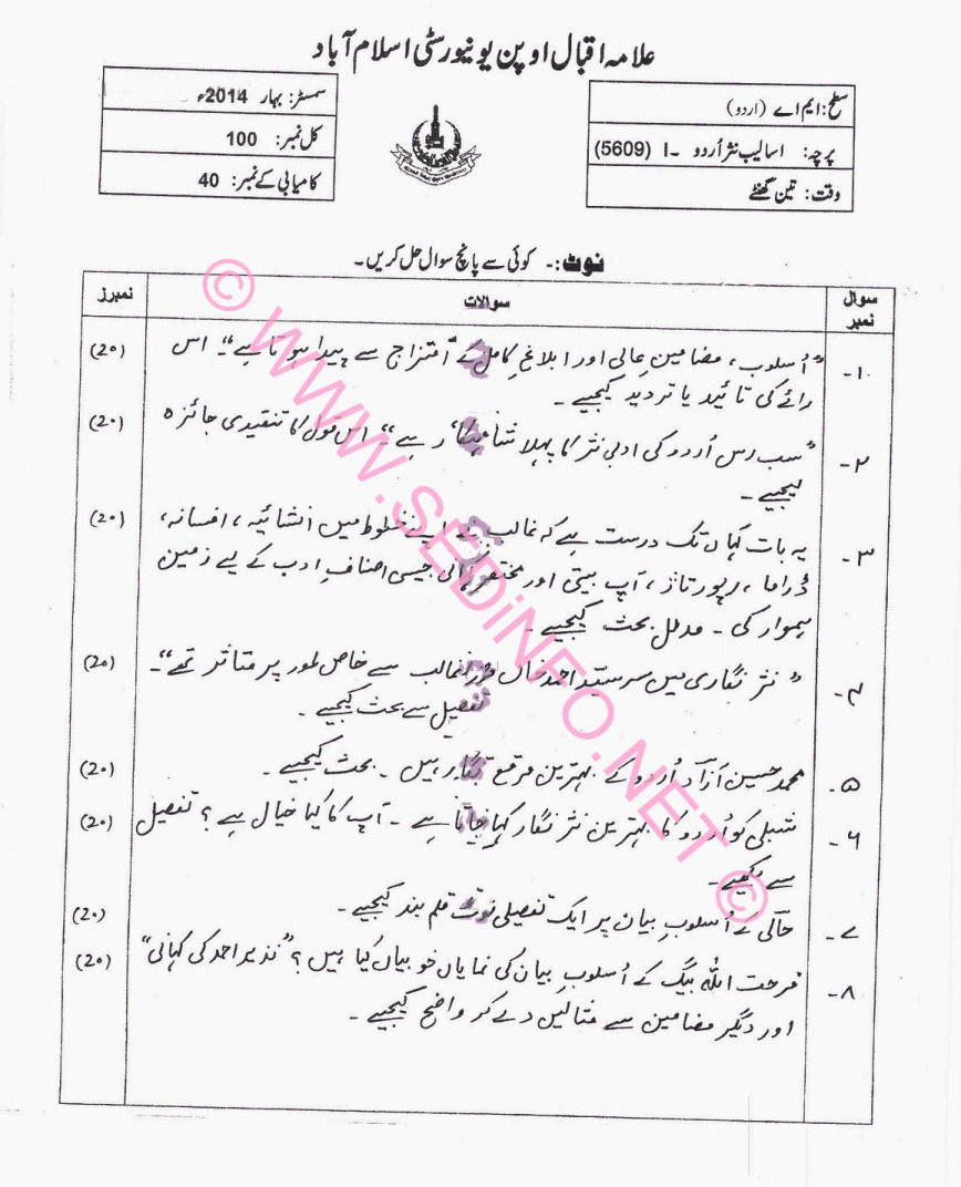 MA Urdu Code 5609 AIOU Past Papers S2014