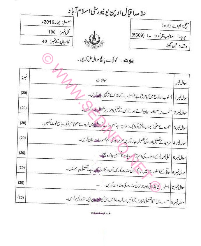 MA Urdu Code 5609 AIOU Past Papers S2016