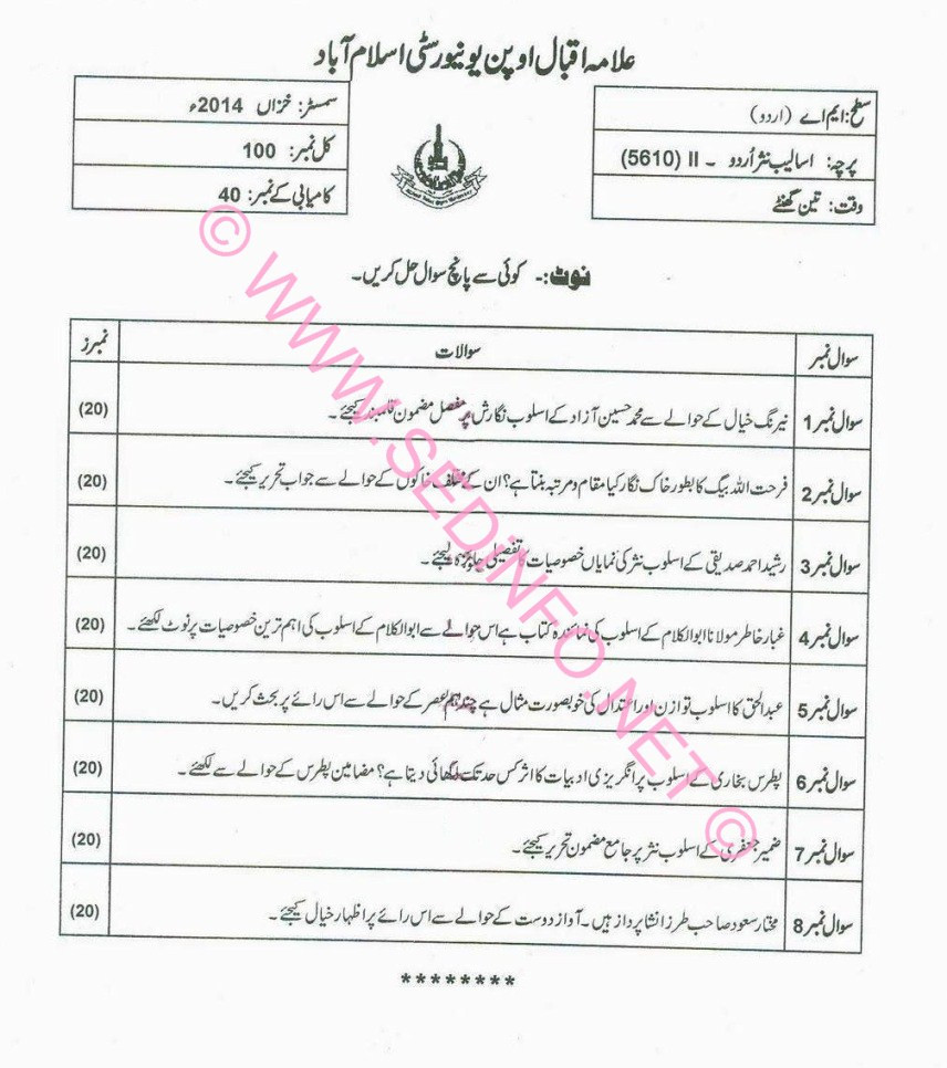 AIOU MA Urdu Code 5610 Past Papers A2014