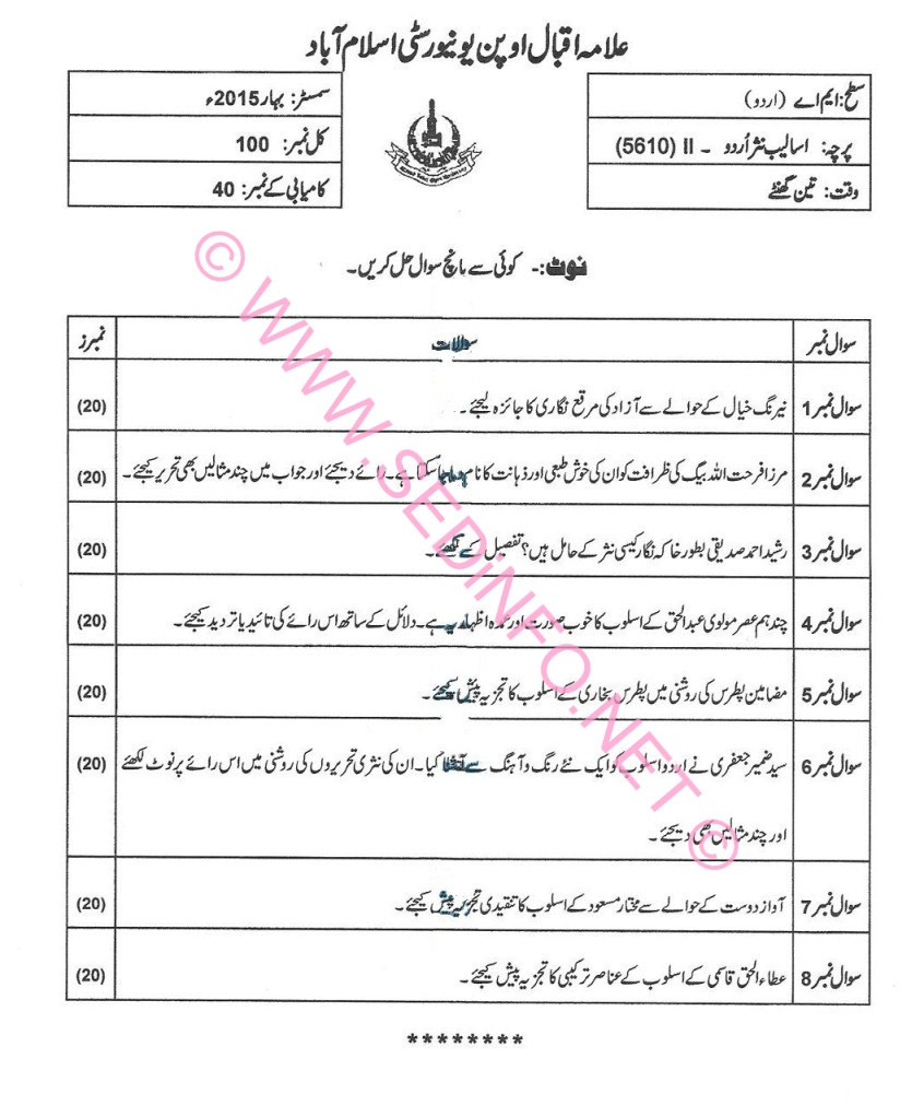 AIOU MA Urdu Code 5610 Past Papers S2015