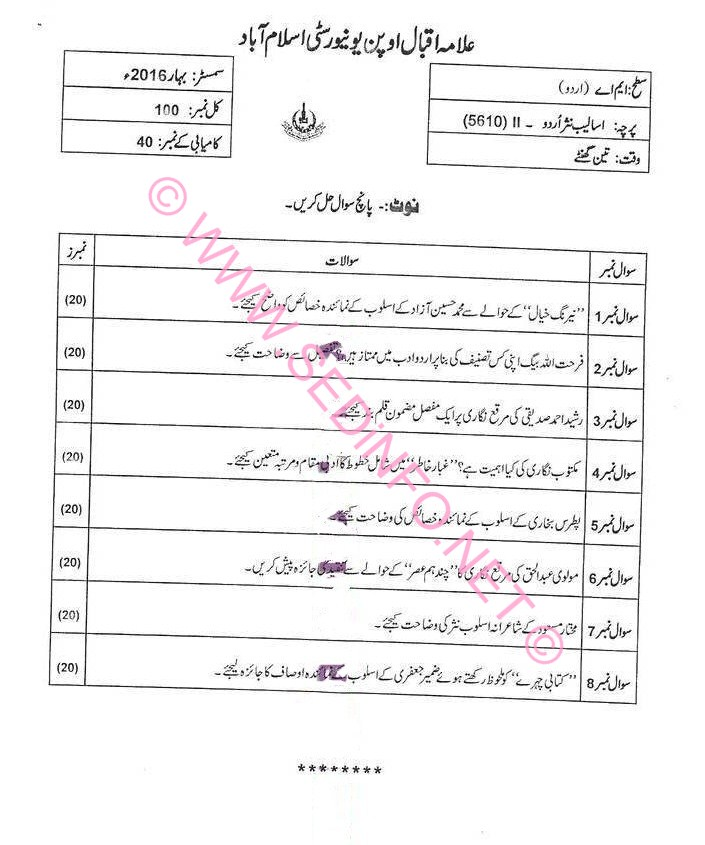 AIOU MA Urdu Code 5610 Past Papers S2016