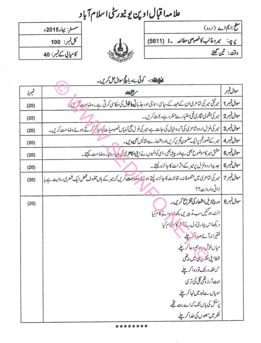 AIOU MA Urdu Code 5611 Past Papers S2015