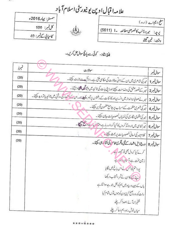 AIOU MA Urdu Code 5611 Past Papers S2016
