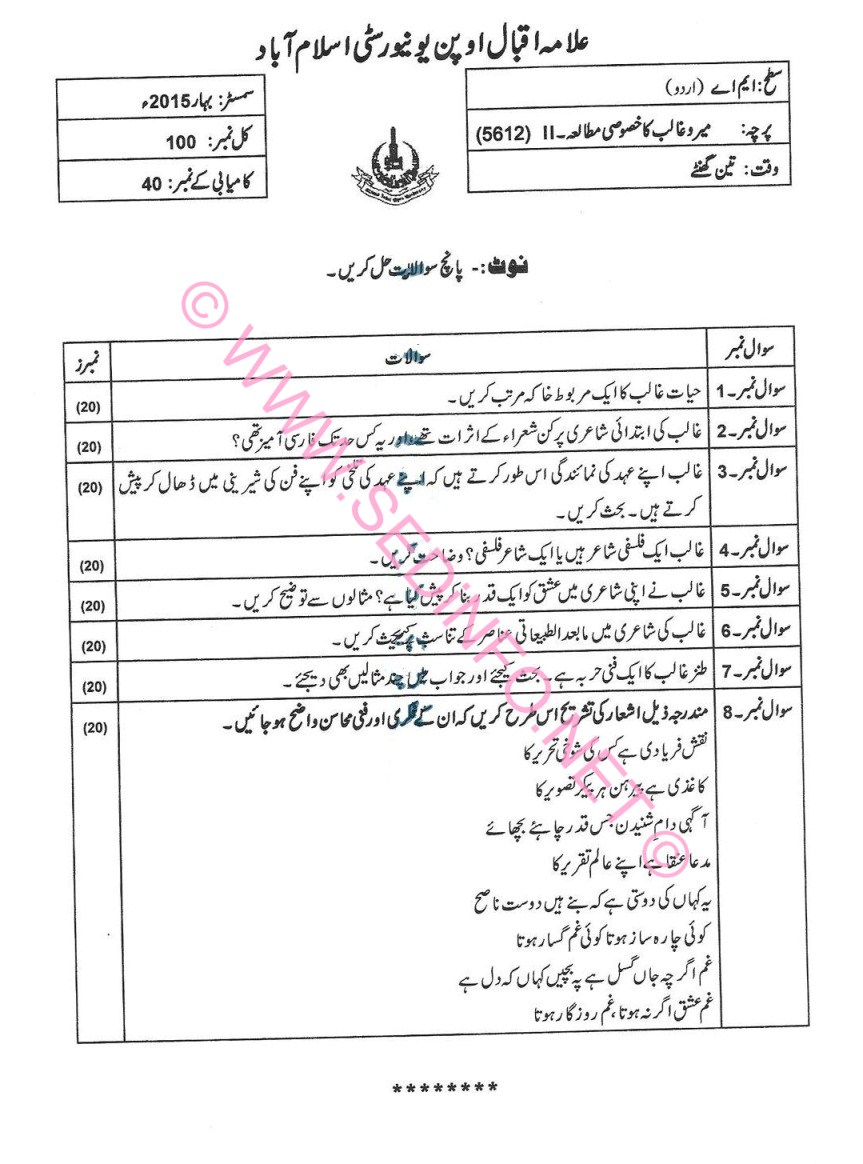 AIOU MA Urdu Code 5612 Past Papers S2015