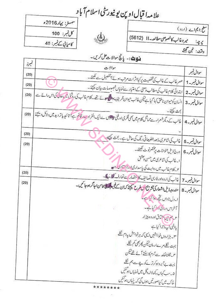 AIOU MA Urdu Code 5612 Past Papers S2016