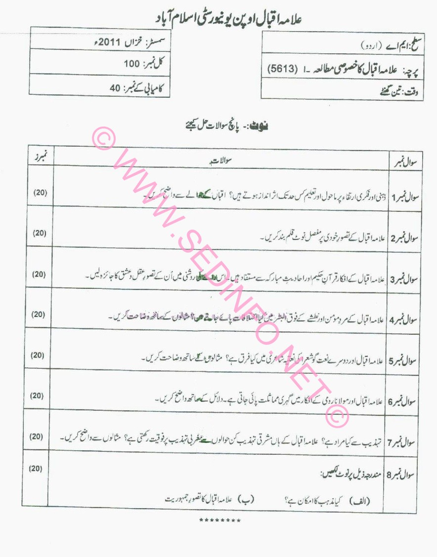 MA Urdu Code 5613 AIOU Past Papers A2011