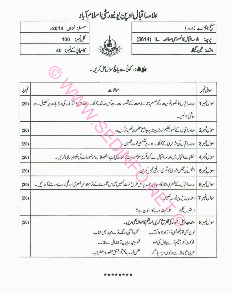 AIOU MA Urdu Code 5614 Past Papers A2014