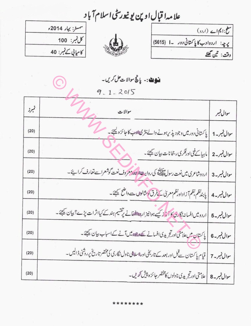 AIOU MA Urdu Code 5615 Past Papers S2014