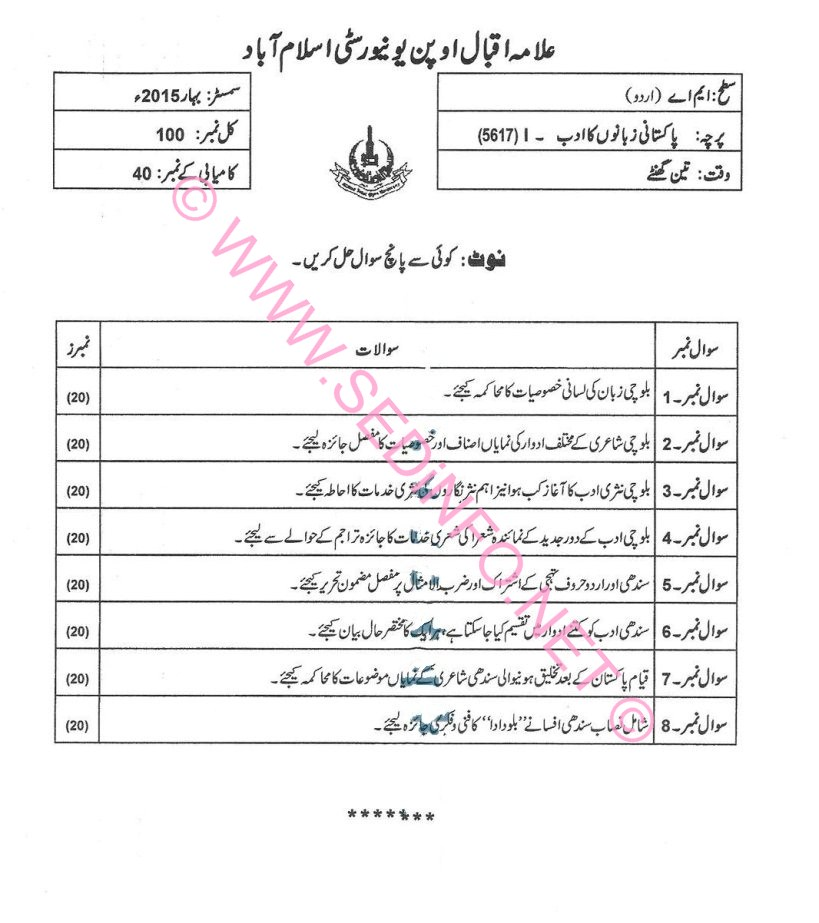 MA Urdu AIOU Past Papers Code 5617 S2015