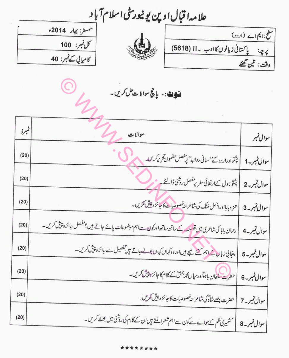 AIOU MA Urdu Code 5618 Past Papers S2014