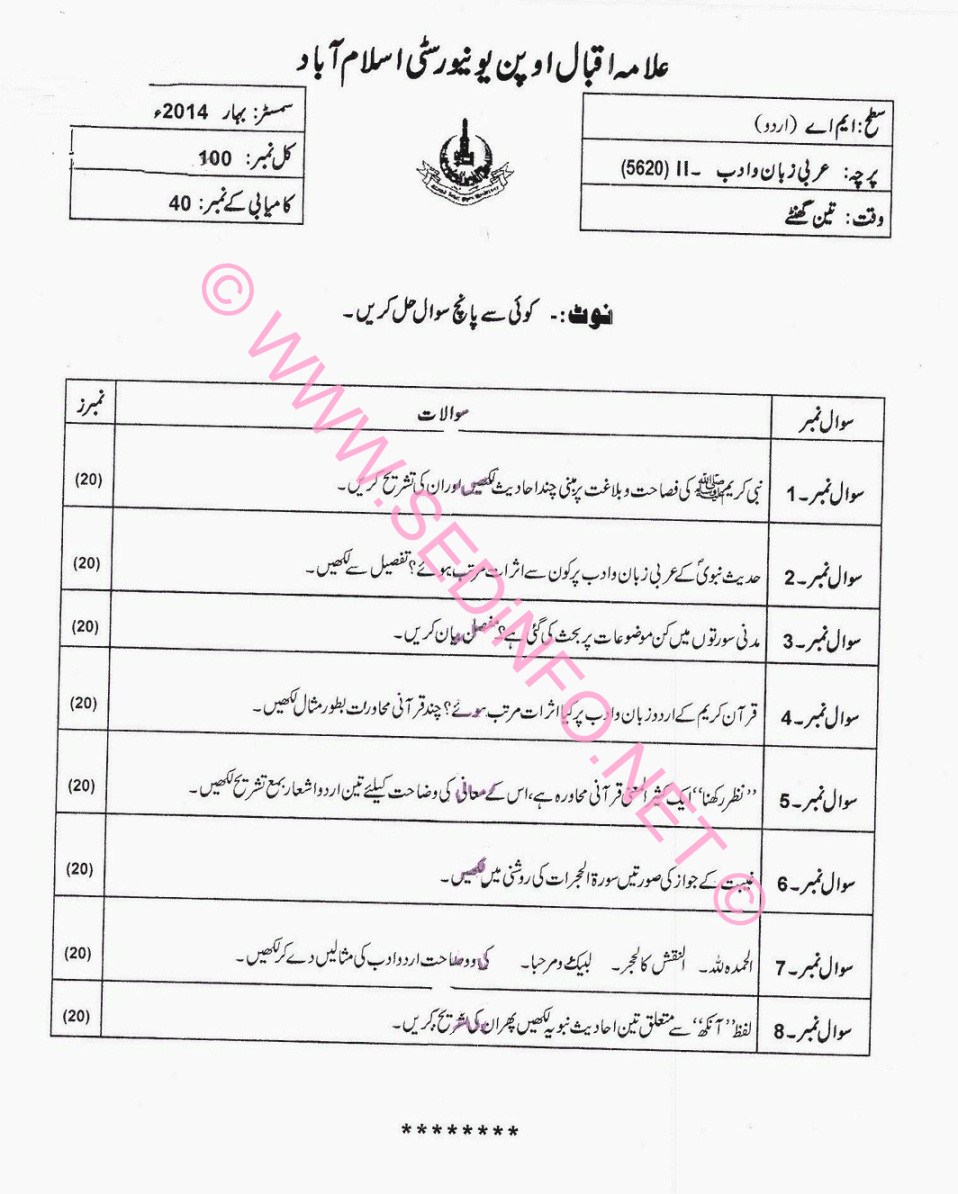 AIOU MA Urdu Code 5620 Past Papers S2014
