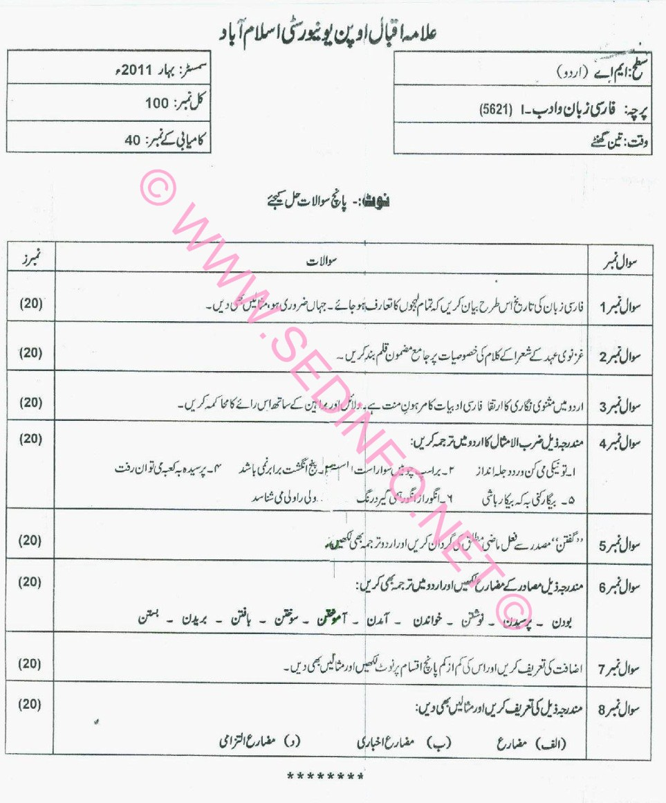 MA Urdu Code 5621 AIOU Past Papers S2011
