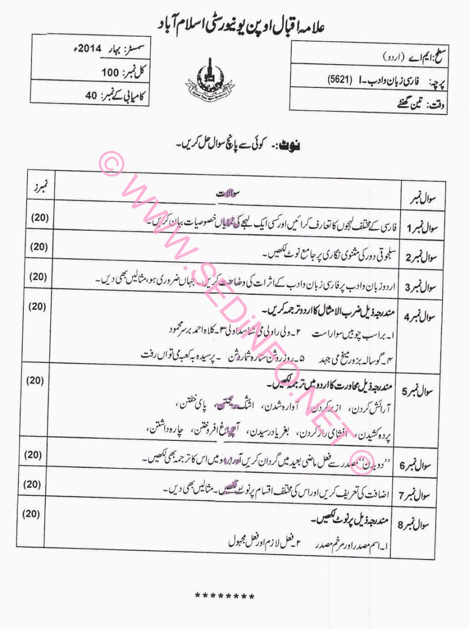 MA Urdu AIOU Past Papers Code 5621 S2014