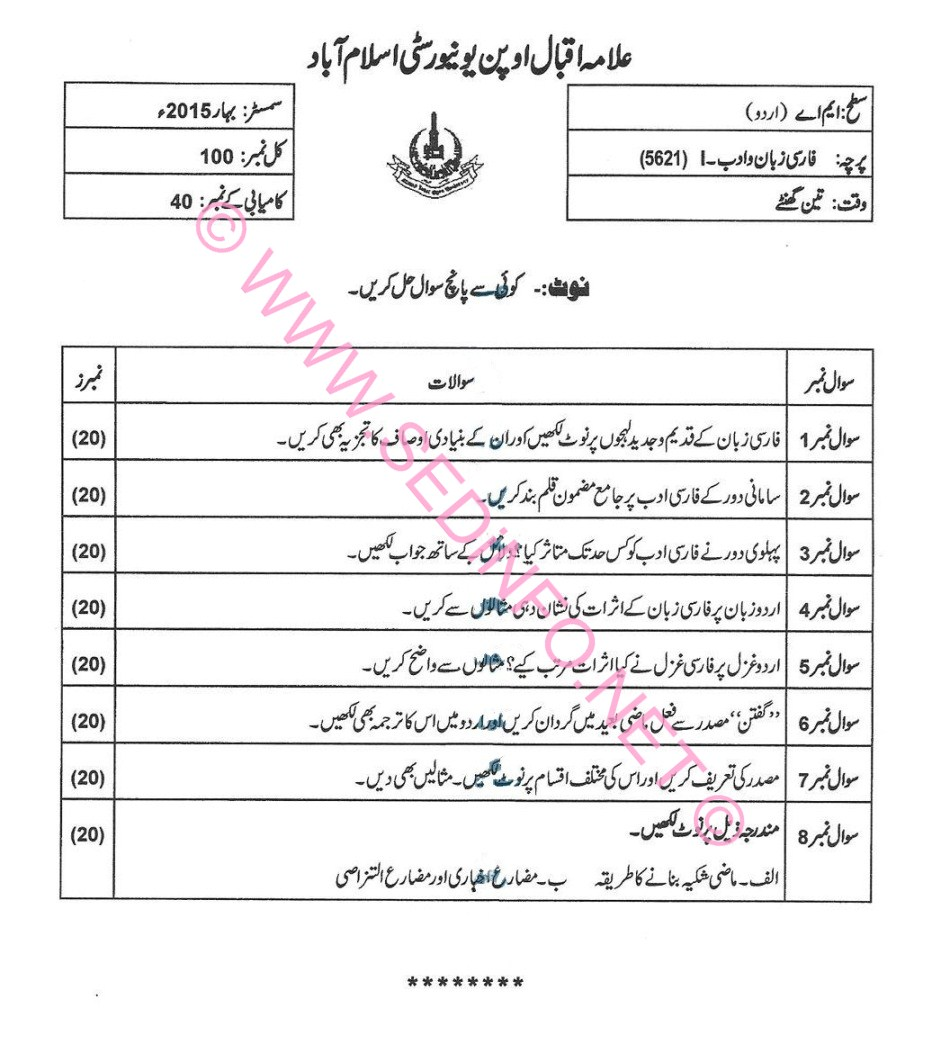 MA Urdu AIOU Past Papers Code 5621 S2015