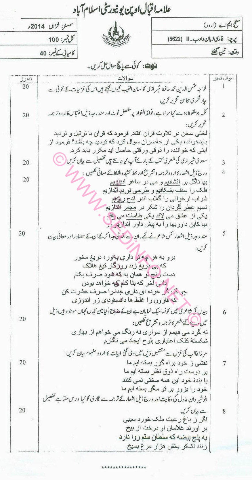 MA Urdu AIOU Code 5622 Past Papers A2014
