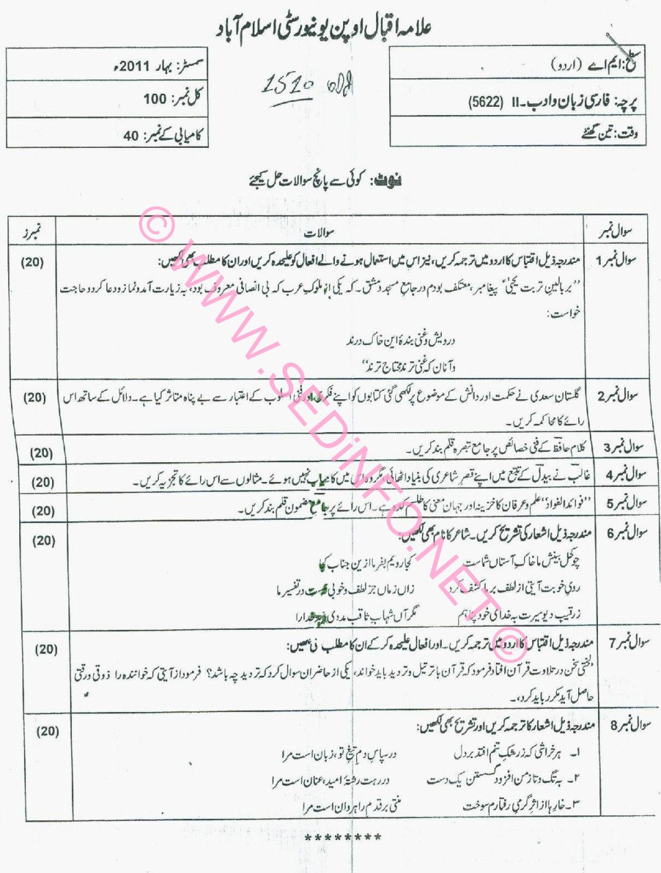 MA Urdu AIOU Code 5622 Past Papers S2011