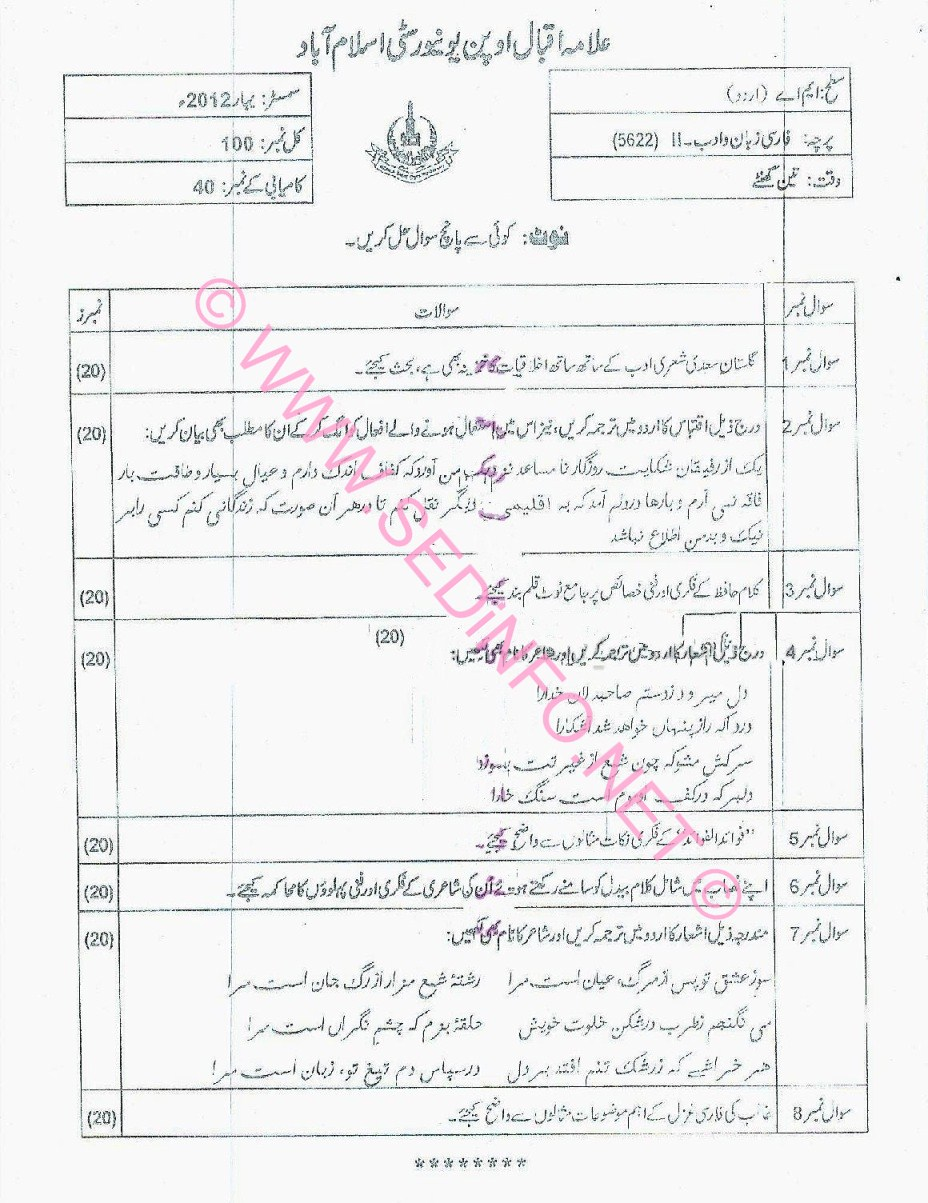 MA Urdu AIOU Code 5622 Past Papers S2012