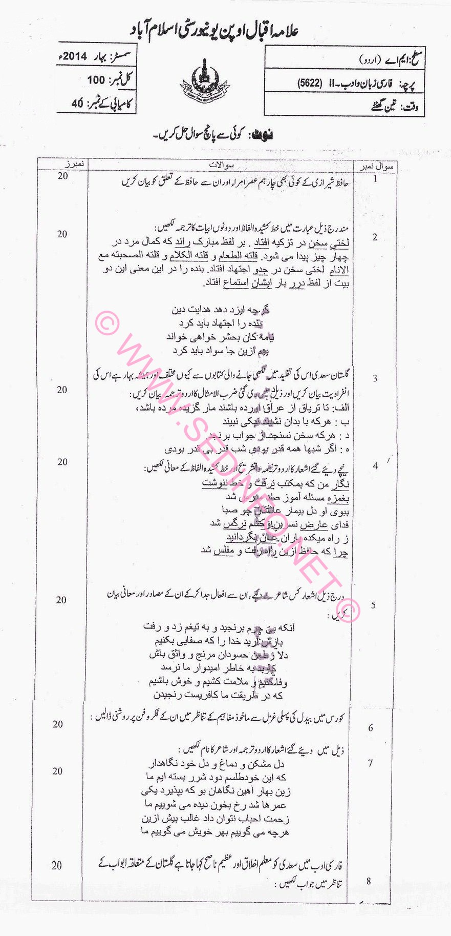MA Urdu AIOU Code 5622 Past Papers S2014