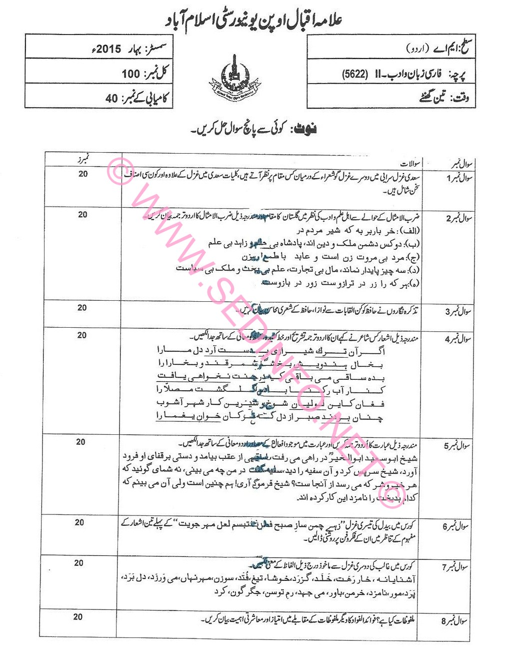 MA Urdu AIOU Code 5621 Past Papers S2015