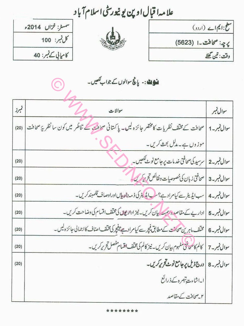 MA Urdu AIOU Code 5623 Past Papers A2014