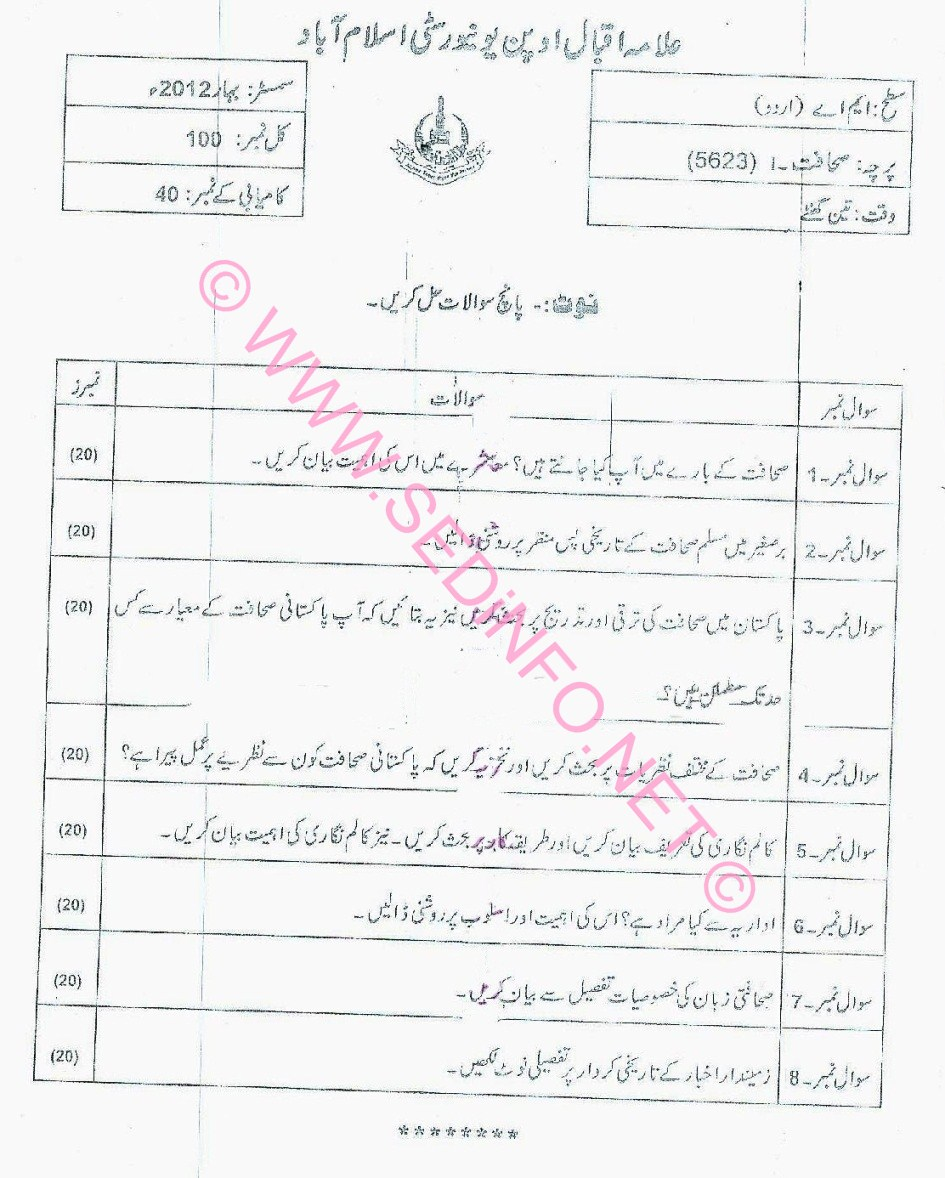 MA Urdu AIOU Code 5623 Past Papers S2012