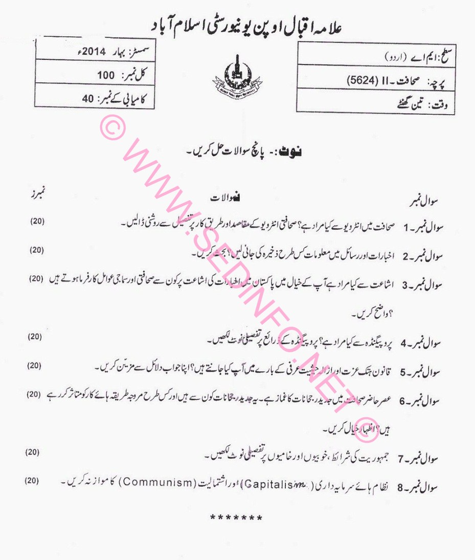 AIOU MA Urdu Code 5624 Past Papers S2014