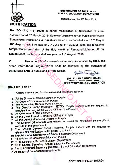 Schools Summer Vacations Notification 2018