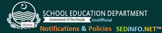 School Education Department Notifications Policies