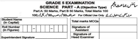 5th Class Science Test Papers