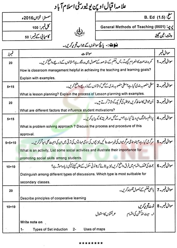 AIOU B.ED Past Papers Code 8601