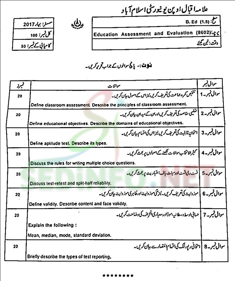 aiou bed code 8602 past papers