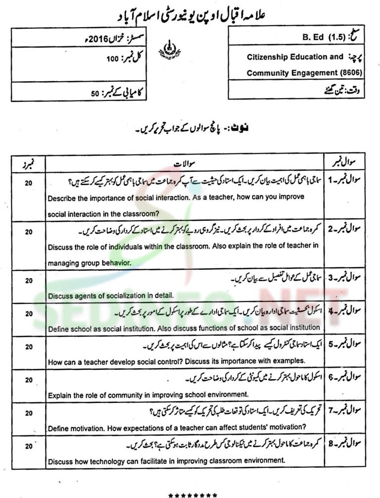 aiou bed code 8606 past papers