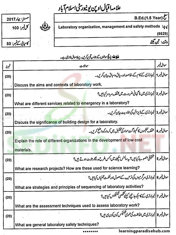 aiou bed code 8629 past papers